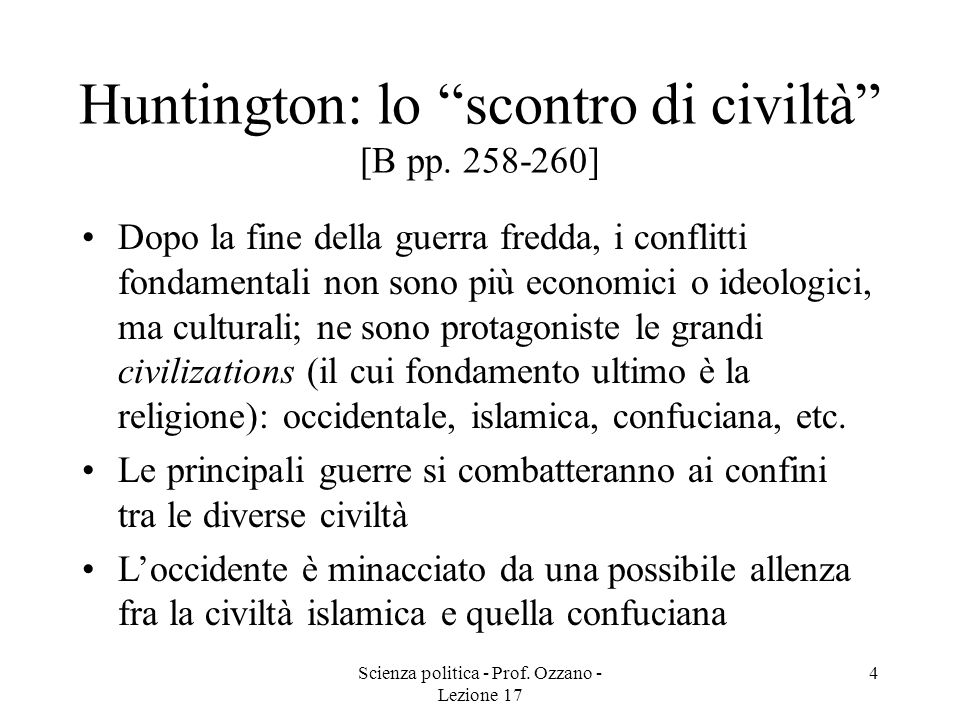 Huntington: lo scontro di civiltà [B pp. 258-260]